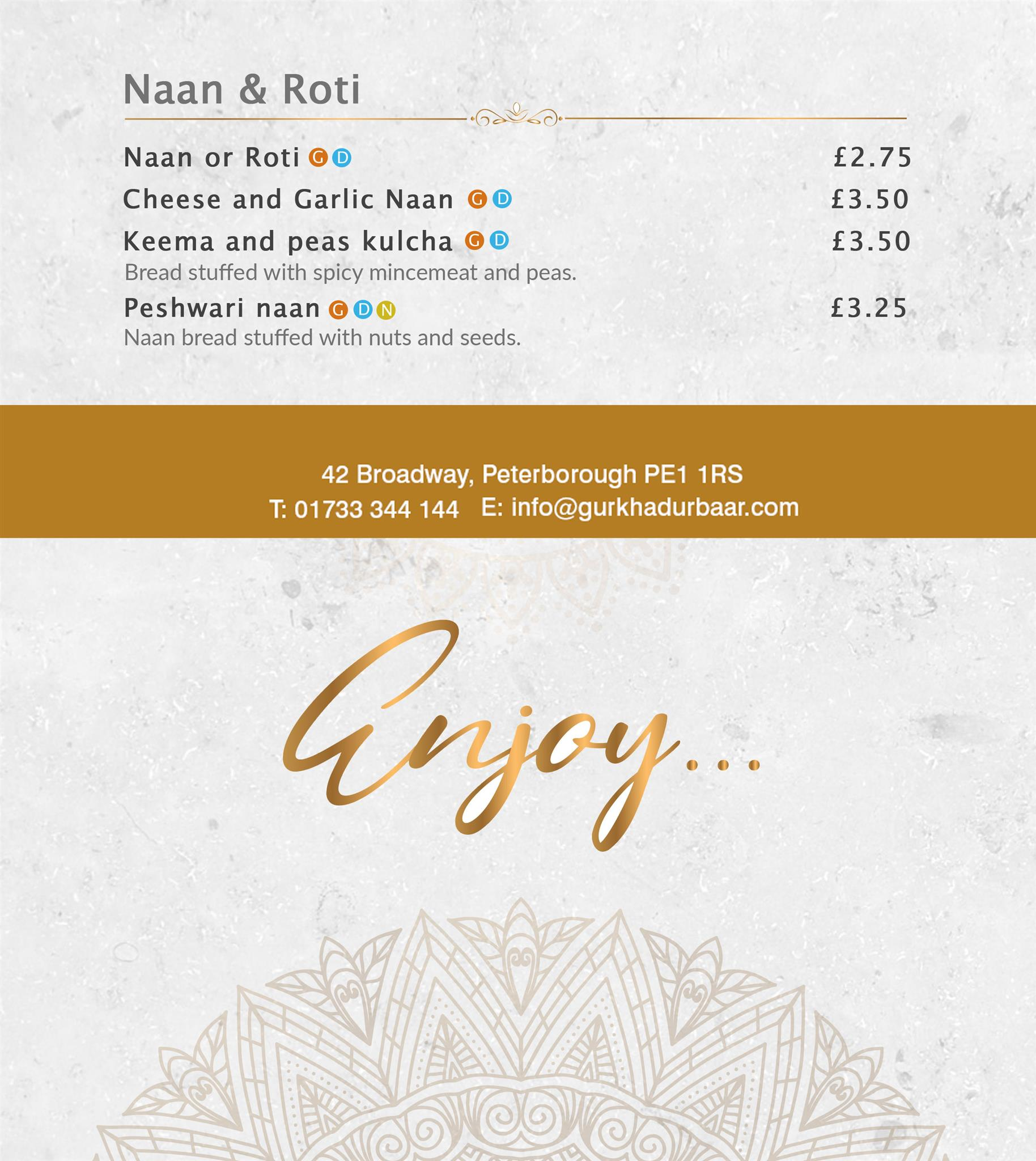 Best Indian restaurant menu